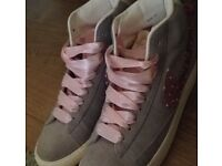 Customised grey and pink Nike blazers trainers size 5