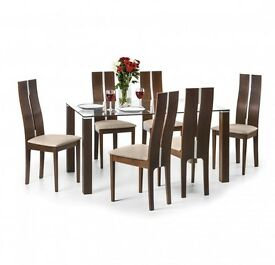 Julian bowen dining table and 6 chairs
