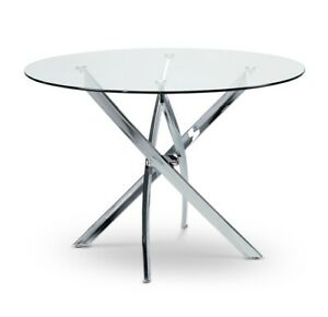 Solid glass and chrome dining table with 2 dining chairs