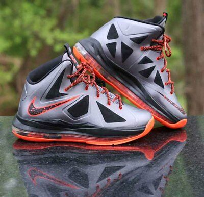 32d4ebf9a4ab Nike LeBron X 10 GS Lava 543564-002 Charcoal Total Orange Black Size 5Y