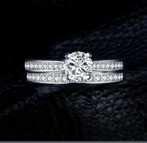 925 STAMPED STERLING SILVER WEDDING / PROMISE RING SET