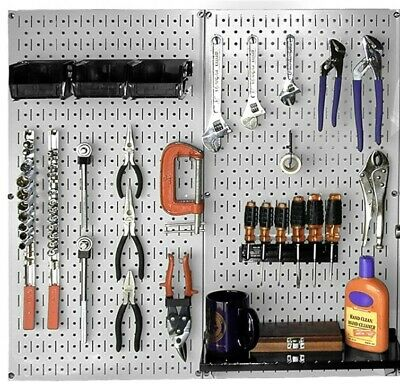 2 Wall Control Metal Pegboard Standard Tool Storage Kit 16 In. X 32 In. Gray Peg