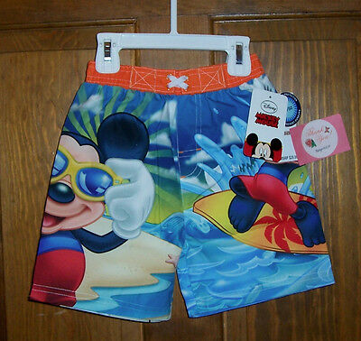 Disney Mickey Mouse Swim Bathing Suit Trunks Shorts UPF50+ Boys Size 3T $20