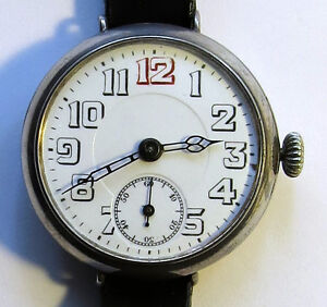 World War 1 Sterling Silver Officers Trench Watch Antique