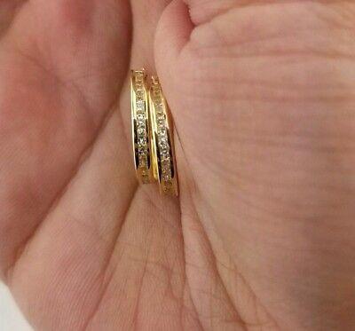 14K Solid Yellow Gold Diamond Eternity Endless Hoop Earrings Fancy Small Light