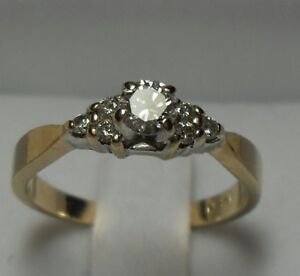 Vintage - 14kt Yellow Gold - Diamond Engagement Ring/Sz 6.75