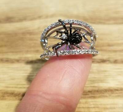Spider and web 925 sterling silver Jewelry Necklace Earrings Ring Fine (Fine Web)