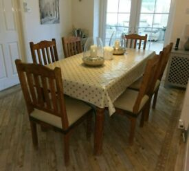 6x Dining Chairs (Solid wood with cream leather seat pads)