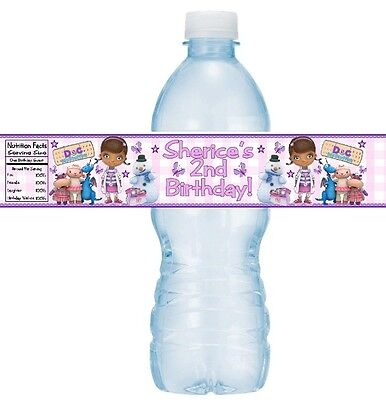 12 Doc McStuffins Birthday Party or Baby Shower Water Bottle Stickers Dottie (Doc Mcstuffins Birthday Party)