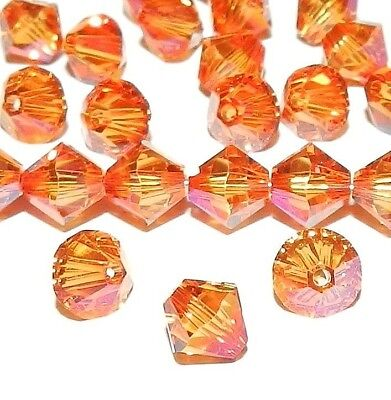 SCB5122 Astral Pink Orange 6mm Faceted Xilion Bicone Swarovski Crystal Bead (Pink Swarovski Bicone)
