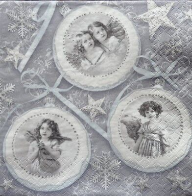 4 x Single Paper Napkins Christmas Vintage Baubles Decoupage Crafting Table 10