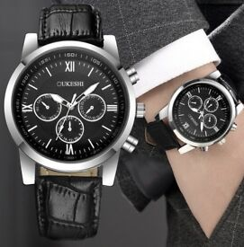 Luxury stainless steel wrist watch army leather