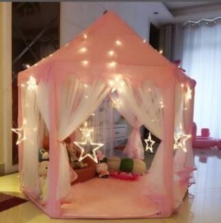 Little girls play tent