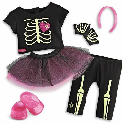 American Girl Skeleton Outfit Doll Halloween Costume Glow In the Dark New In Box - Girl Doll Halloween Costumes