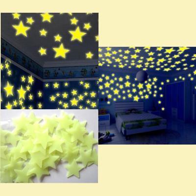 100PC Kids Bedroom Fluorescent Glow In The Dark Stars Wall Stickers Fluorescent