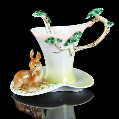 Porcelain Relief Deer Coffee Set Tea Set Milk Cup Saucer Spoon Daily Used