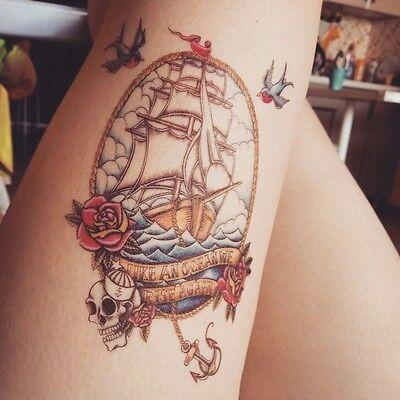 Summer Sea Temporary Tattoo Stickers Body Art Waterproof Boat Ship on Wave  - Sea Tattoo