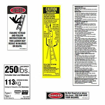 10 Pack - 250lb. Fiberglass Step Ladder Safety Labels Kit - Werner