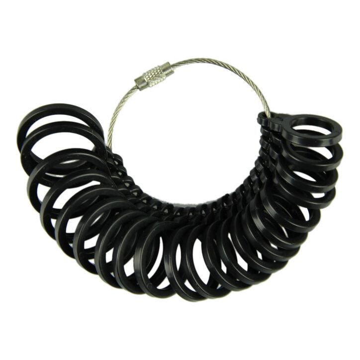 Black Plastic Finger Ring Sizer Gauge Jeweler Sizing Tool - UK Size L-W