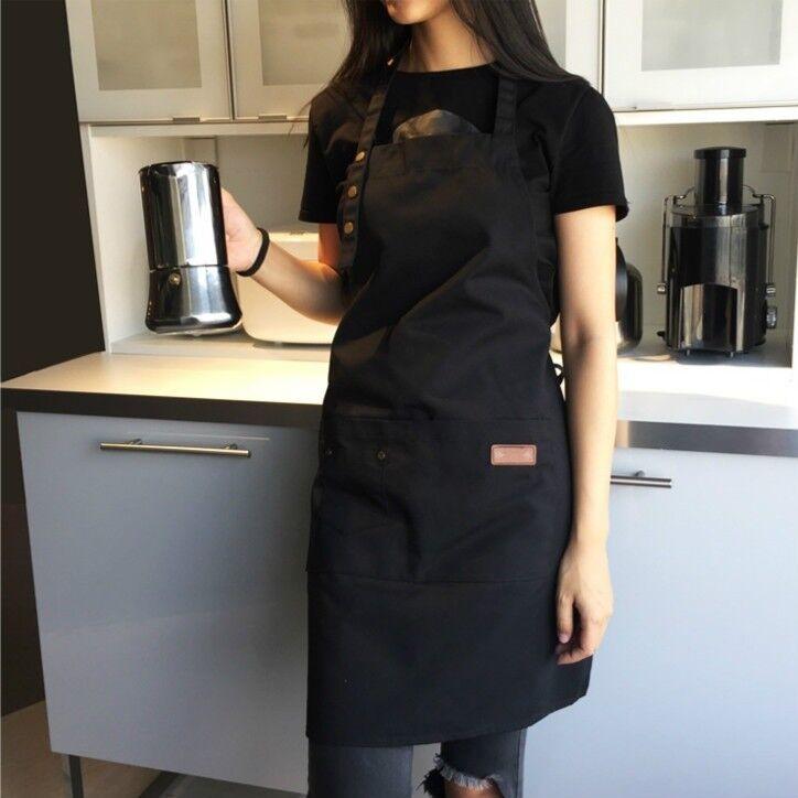 Canvas Pockets Apron Butcher Crafts Baking Chefs Kitchen Cooking Plain Apron 8C