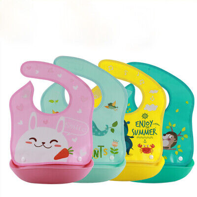 Crumb Catcher Feeding Bib (New Baby Silicone Waterproof Bib Washable Roll Up Crumb Catcher Feeding Eating )
