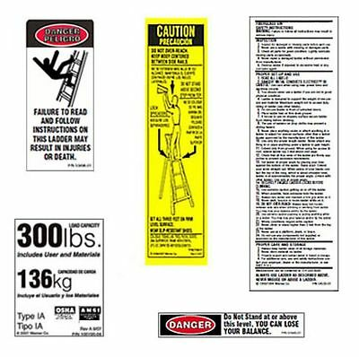10 Pack - 300lb. Fiberglass Step Ladder Safety Labels Kit - Werner