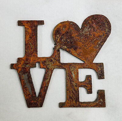 "6"" LOVE Square with Heart for O Rusty Metal Wall Art Craft Stencil Vintage Sign"