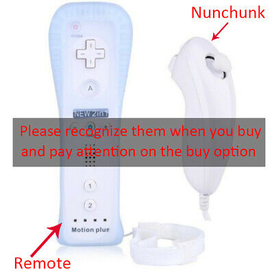 Built in Motion Plus Remote Nunchuck Controller + Case for Nintendo Wii / Wii U
