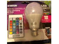 Status, remote Controlled Colour Changing LED Bulb.