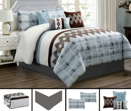 7 Piece Blue Brown Southwest Embroidery Comforter Set Queen/King Size Bedding