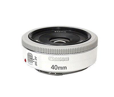Canon EF 40mm f/2.8 STM Pancake White Lens NEW  -Bulk Package + 52mm UV Filter