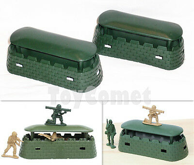 2 pcs Military Bunker Blockhouse Models Plastic Toy Soldier Army Men Accessories