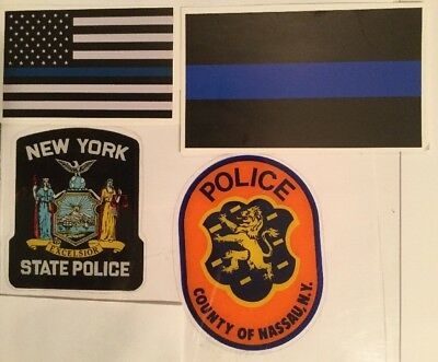 Nassau County Police + NY State Police InWindshield Decals+2Blue line Skr *Other