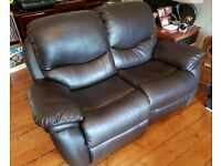 3 and 2 seater recliner brown leather sofa / couch