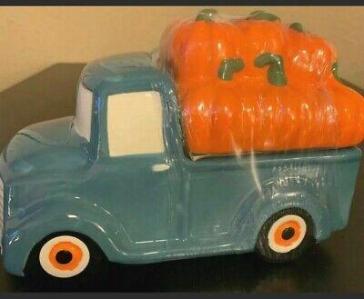 NEW Autumn Harvest Decor Blue Farm Truck with Pumpkins Cookie Jar Free Shipping