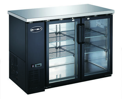 Saba 48 Black Back Bar Beer Cooler Refrigerator 2 Glass Doors 24 Depth