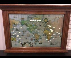 Mid-Century Howard Miller World Time Oak Collectible Wall Clock Runs & Lights! ✅