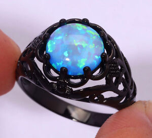 Lady's Blue Opal Ceramic Over 925 Silver Wedding Ring Size 7
