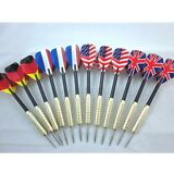 12 pcs (4 sets) Steel Needle Tip Dart Darts With National Flag Flight Flights
