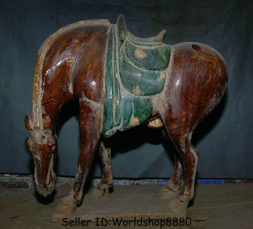 """18"""" Old China Tang San Cai Rubber tire glaze Pottery Dynasty Stand Horse Statue"""