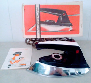 1960s AKA ELECTRIC Clothes Iron CHROME Antique Vintage
