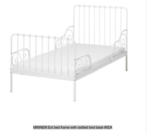 【#IKEA#LIFE】50% off SINGLE BED # MINNEN Ext # Bed Frame # white