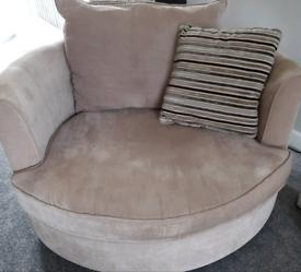 Sofa/settee, cuddle/cwtch/swivel chair & footstool/pouffe