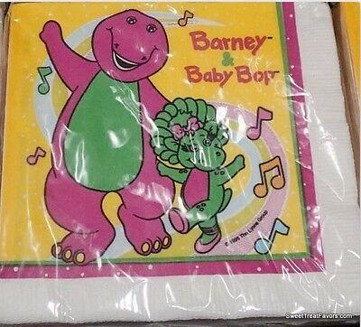 BARNEY Dinosaur Party Supplies Napkins Cake First Birthday Decoration Baby x16 *
