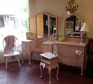 Pretty in Pink, Vanity, Dresser, night table charging station