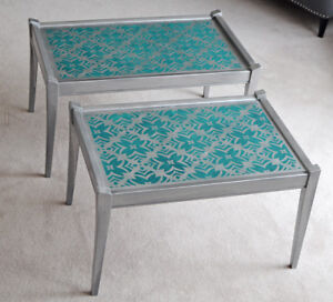 Pair of Silver & Turquoise Stenciled Tables
