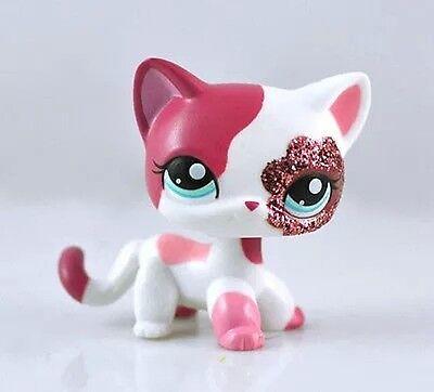 lps Cat littlest pet shop short hair Pink White Glitter Sparkle kitty ()