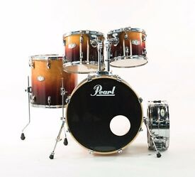 Pearl Vision VBL/SST Drum Kit Tobacco Lacquer Fade & Sensitone Snare Drum...Stunning Kit