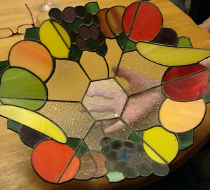 Hand made stained glass  fruit bowl.