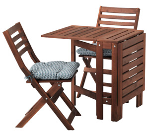 Selling IKEA wood folding patio table w 2 chairs and cushions